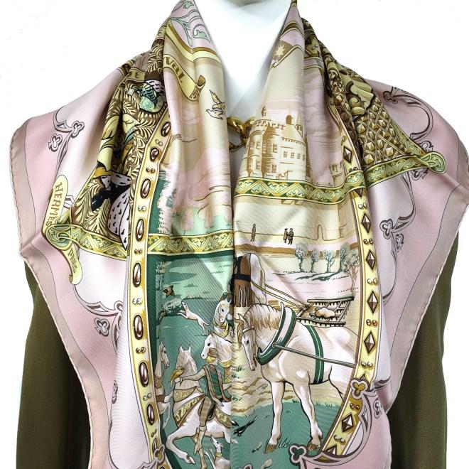 Hermes Silk Scarf La Vie a Cheval Pink.jpg