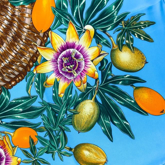 Hermes Silk Scarf Passiflores Turquoise UNWORN-8