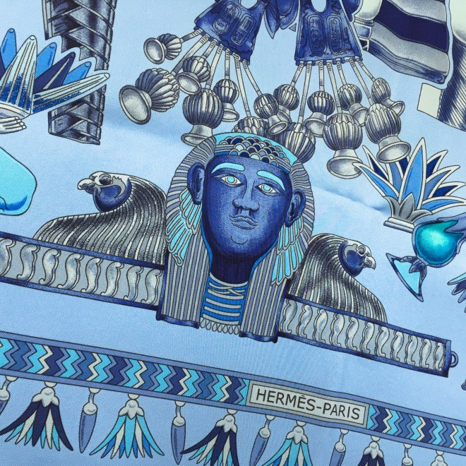 Hermes Silk Scarf Tresors du Nil Blue-2