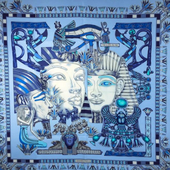 Hermes Silk Scarf Tresors du Nil Blue-3