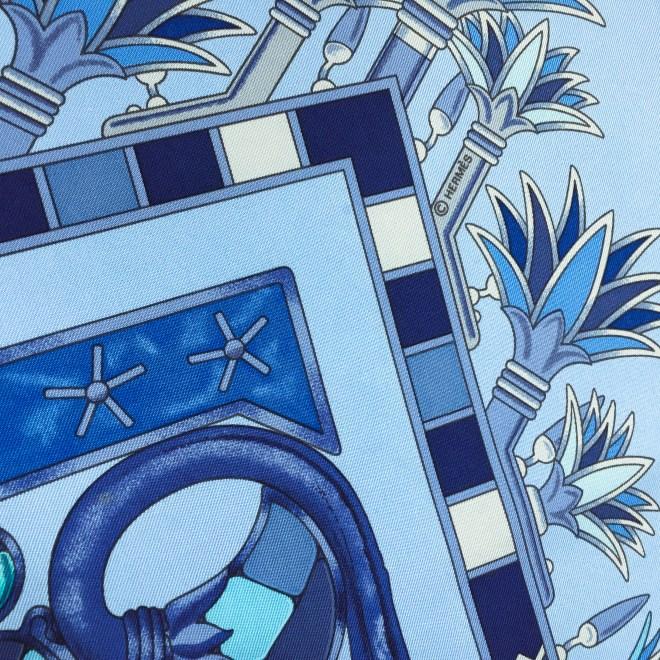 Hermes Silk Scarf Tresors du Nil Blue-6