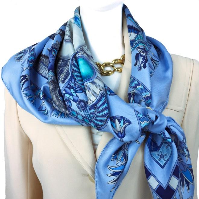 Hermes Silk Scarf Tresors du Nil Blue-8