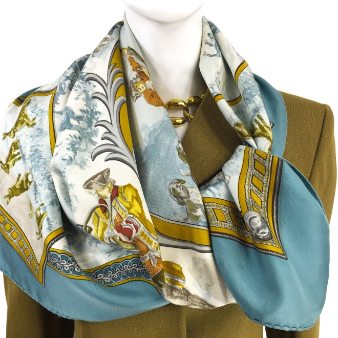 Hermes Silk Scarf Petit Venerie RARE-10