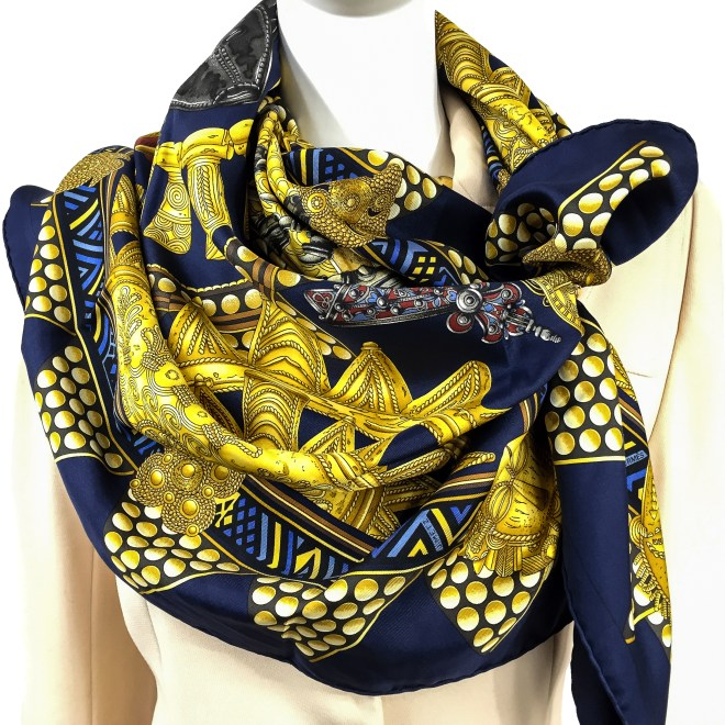 Hermes Silk Scarf L'Or des Chefs Navy.jpg
