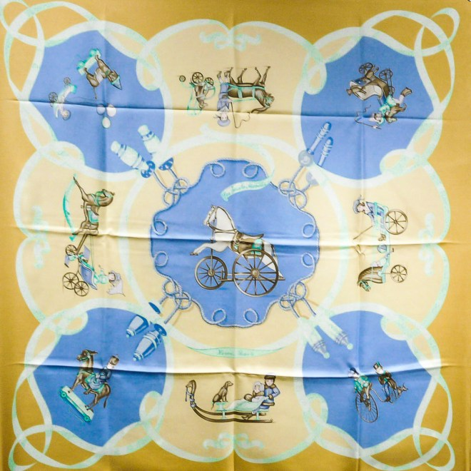 Les Joues Mobile Hermes Silk Scarf Yello Blue