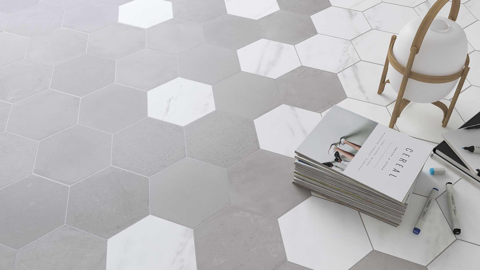 hexagones carrelage sol et mur 2