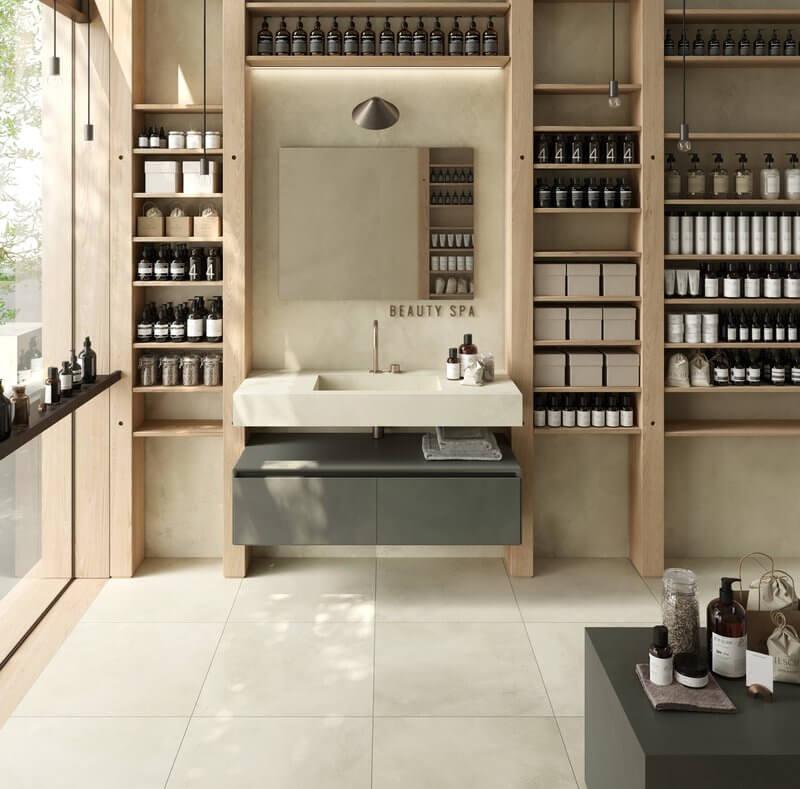 meubles salle de bain carrelage sol