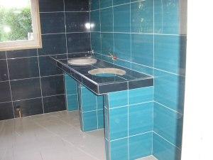 Pose de fayence dans une salle de bain