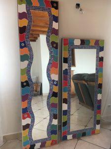 Assemblage miroir+ mosaïque+ découpe faïence