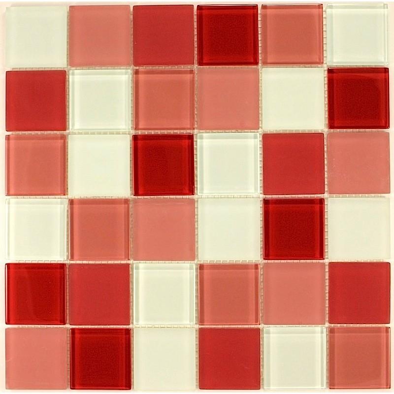 mosaique verre credence cuisine verre mosaique douche rouge