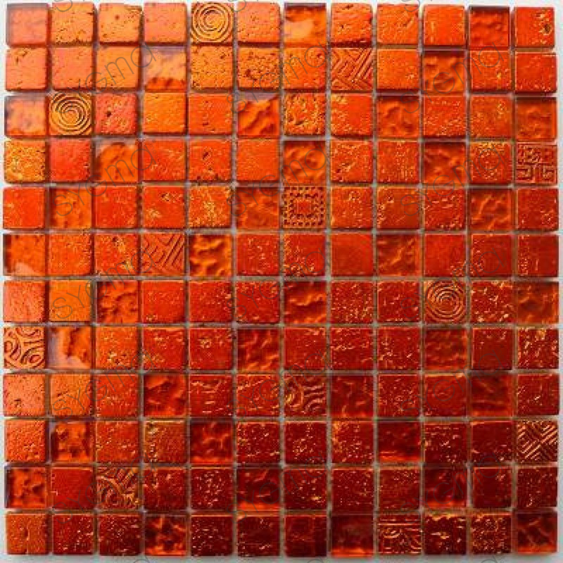 Mosaic Tile Wall Bathroom And Shower Metallic Orange