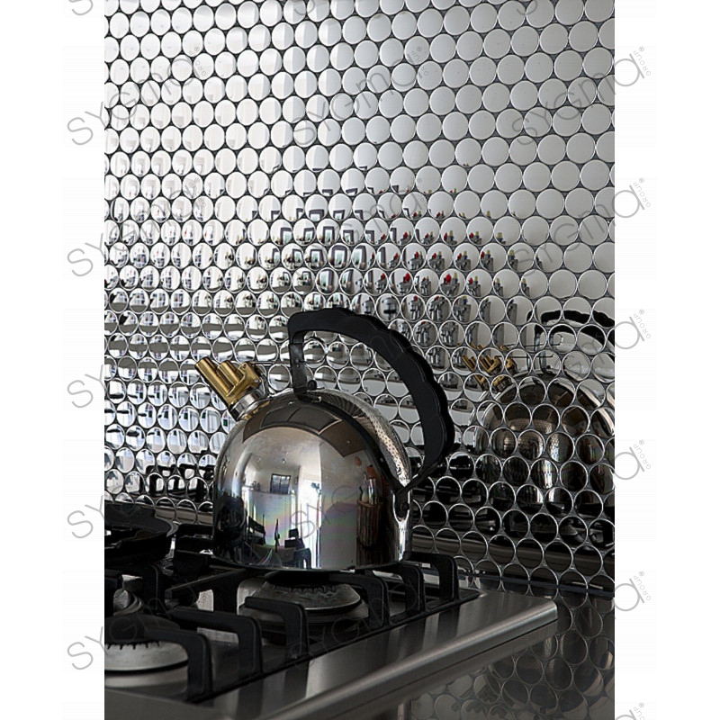 sample mosaic stainless credence cuisine round 25 carrelage inox fr