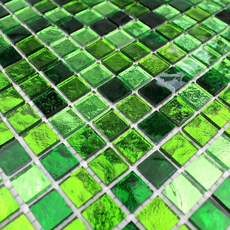 Mosaique De Verre Carrelage Vert Sol Et Mur 1m Gloss Vert Carrelage Inox Fr