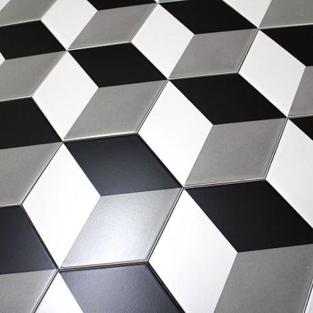 Carrelage Imitation Ciment Noir Et Blanc Hexagonal Cim Cube Carrelage Inox Fr
