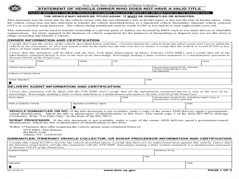 DMV Transfer Of Ownership Form Form Mv 35 Statement Of Vehicle Owner Not Having Valid Title