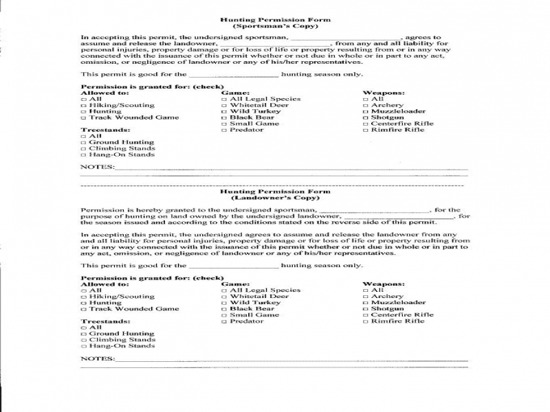 Generic Release Of Liability Form Liability Release Form Huntingnet Forums
