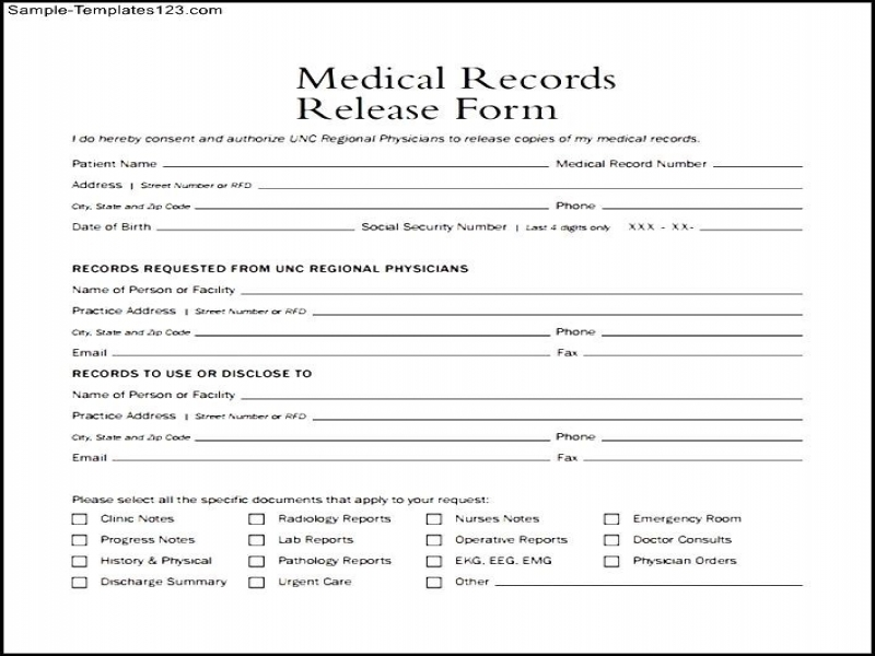 Generic Release Of Liability Form Medical Records Release Form ...