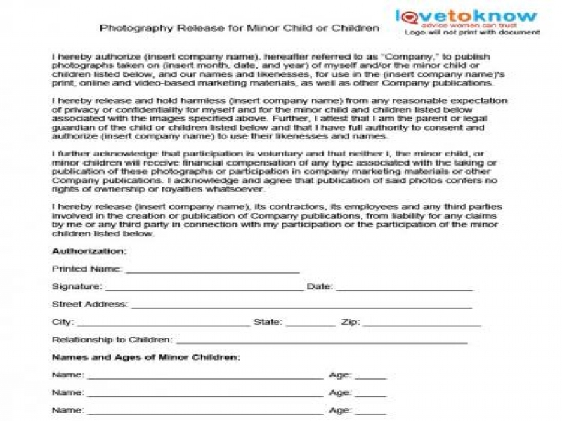 Printable Release Of Liability Form Photography Release Forms