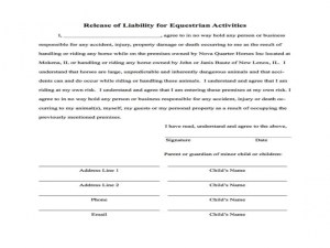 Release Of Liability Form Basic Release Of Liability Form Select Form To Open And Print