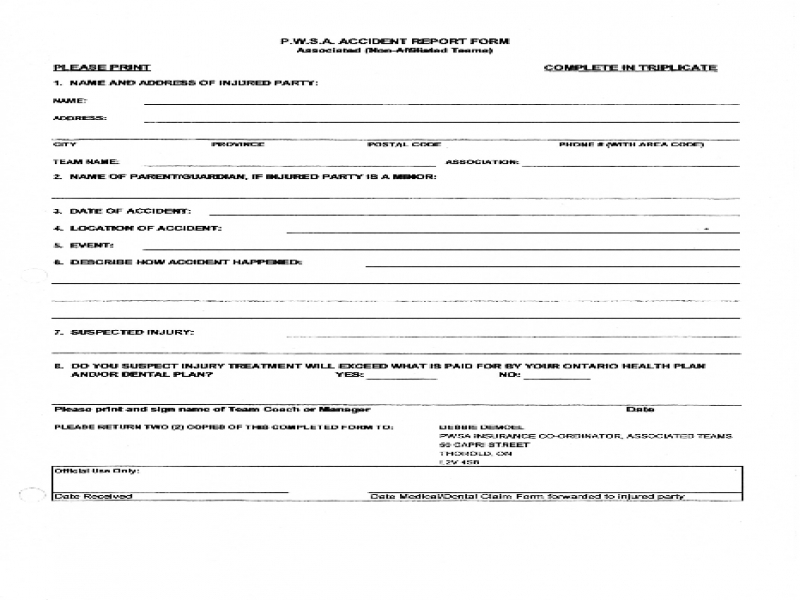 Release Of Liability Form Car Accident Best Photos Of Employee Injury Incident Report Employee Accident