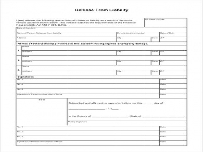 Release Of Liability Form Car Sale Template Sample Liability Release Form 8  Examples In Pdf Word ...  Liability Release Template