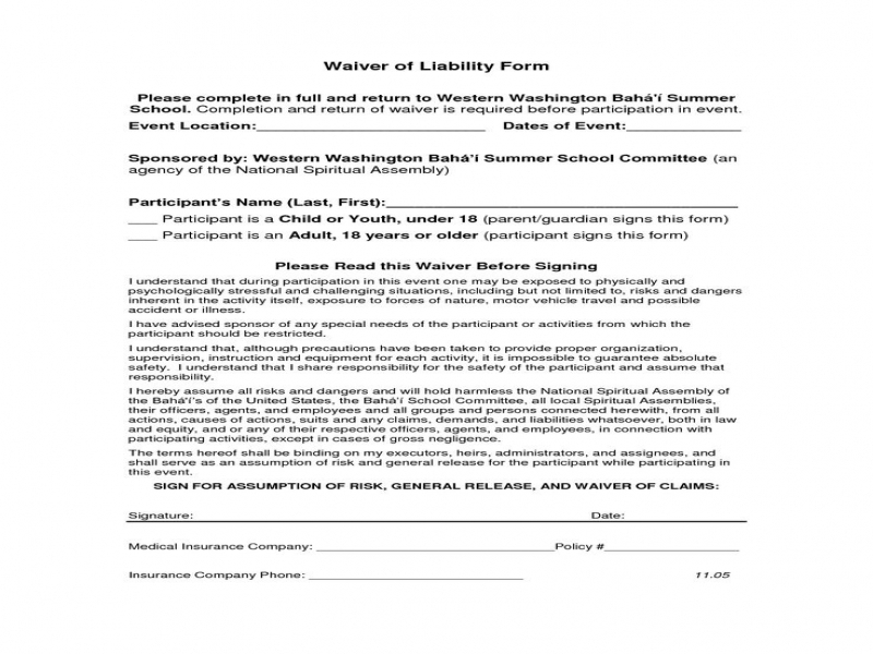 Release Of Liability Form For Car Car Release Of Liability Form Car Accident Release Of Liability