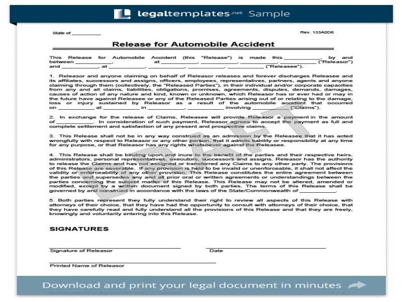Release Of Liability Form For Car General Liability Waiver Template Liability Release Letter