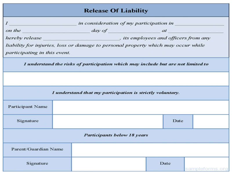Release Of Liability Form Free Other Template Category Page 1207 Sawyoo