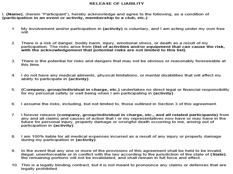 Release Of Liability Form Free Waiver Of Liability Form Template Form Sample General Liability