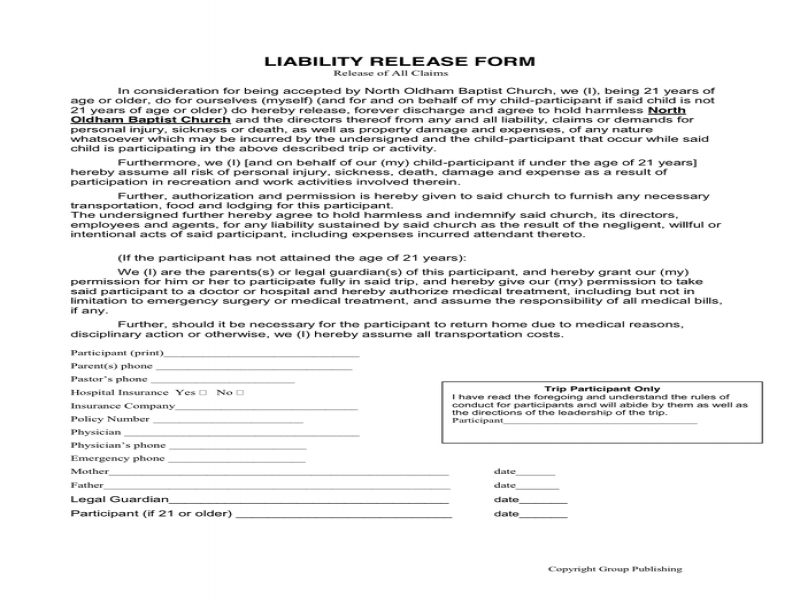 Release Of Liability Form Liability Release Form In Word And Pdf Formats