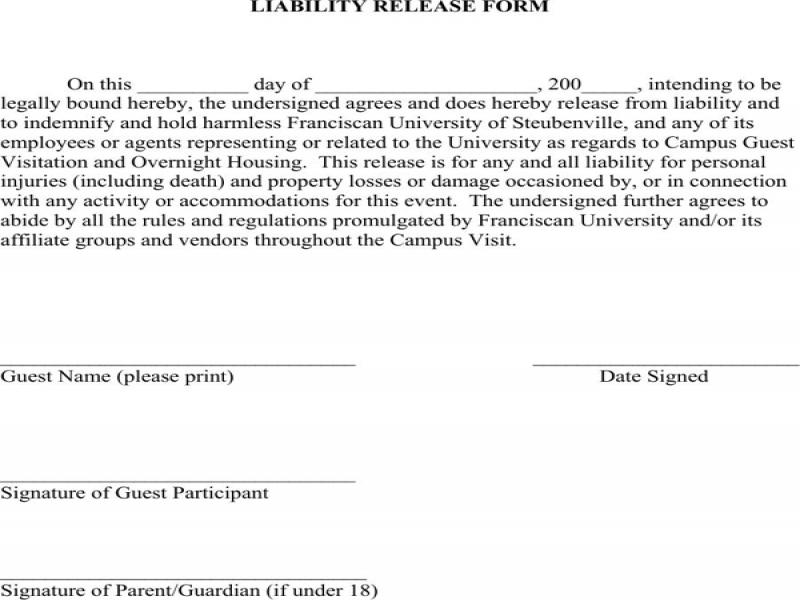 Release Of Liability Form Minnesota Liability Release Form For Excel