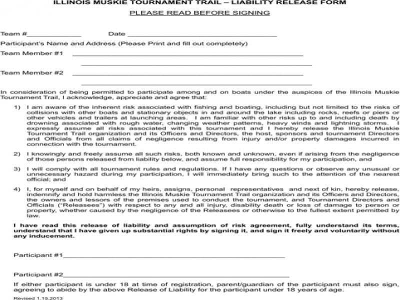 Release Of Liability Form Pdf Illinois Liability Release Form For Excel Pdf And Word