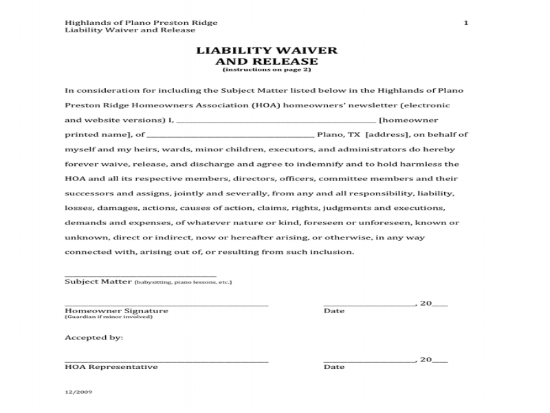 Release Of Liability Form Pdf Liability Waiver And Release In Word ...