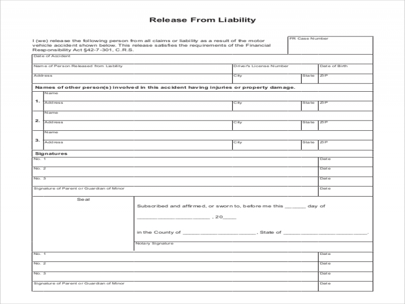 Car Release Form Sample Liability Release Form 8 Examples In Pdf Word