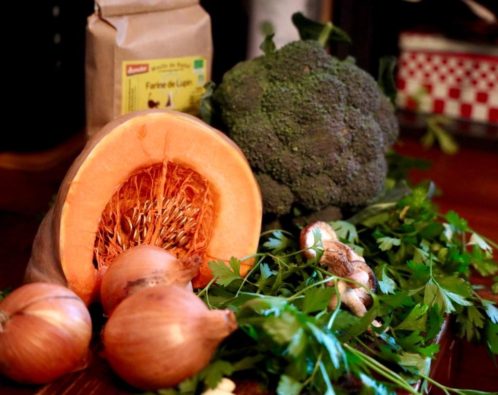 Liste des ingrédients Carrément Bio pour le cake à l'épeautre, aux légumes et aux graines