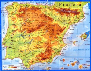 Península Ibérica: Mapa de macizos motañosos.