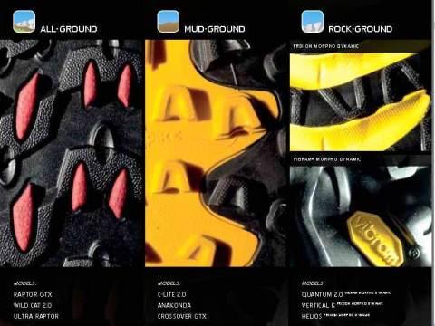 La Sportiva: Zapatillas montaña con tracción a toda prueba. Tipos de suelas según terreno.