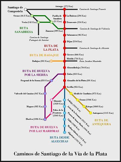 Vía de la Plata: Mapa general de los Caminos de de Santiago enlazados.