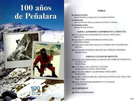 Libros Montaña:  100 años de Peñalara Portada e indice