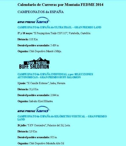 Calendario Carreras Montaña 2014 FEDME. Campeonatos España Km. Vertical, Carrera en Línea y Ultra trail.