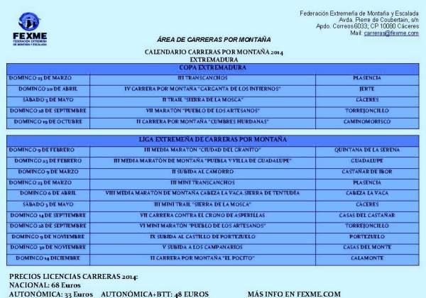 Calendario Carreras Montaña 2014 Extremadura