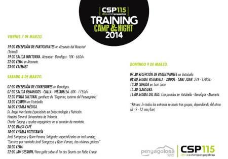 CSP115 training camp 2014. Detalle del programa.