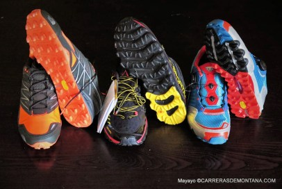 zapatillas trail running Dynafit feline X7, the north face ultra MT y la Sportiva Helios SR