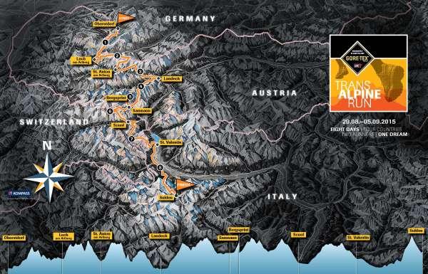 Transalpine goretex run 2015: Mapa y perfil de carrera.