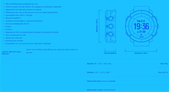 Suunto traverse: Ficha técnica oficial.