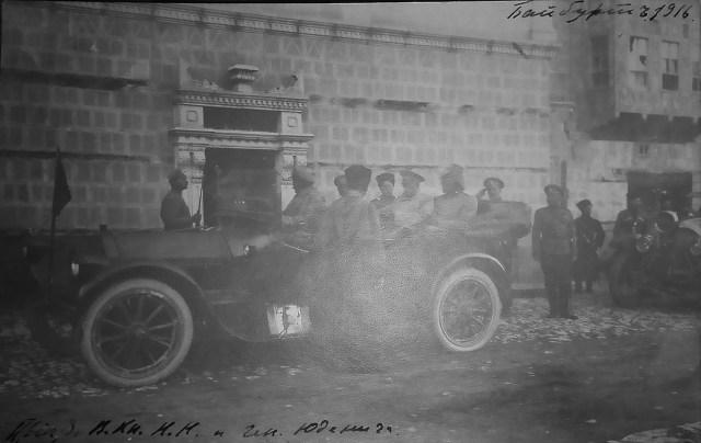 1916. Великий князь Николай Николаевич и генерал Юденич. Автомобиль Пирс-Эрроу.