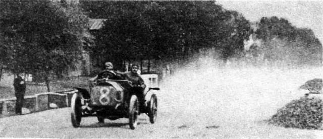 1909. Франсуа Донье на Мерседесе. Автопробег С.Петербург - Рига.