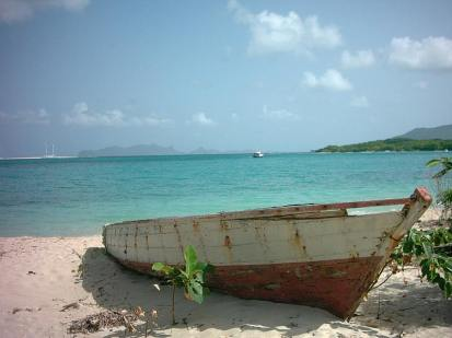 Old boat on Paradise beach Carriacou.