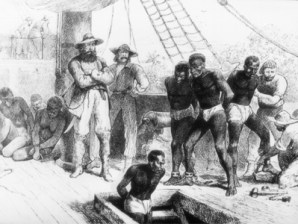 Ship transport of Africans to the Caribbean.