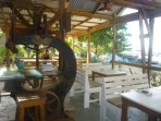 Old boatyard machinery as decoration of the Slipway Restaurant in Tyrell Bay on Carriacou.